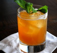 The Southern Gentleman (Wild Turkey, peach, orange juice, mint, cinnamon and a few other things) Orange Juice Cocktails, Spring Cocktails, Bourbon Cocktails, Whiskey Drinks, Craft Cocktails, Cocktail Drinks, Fun Drinks, Yummy Drinks, Cocktail Recipes