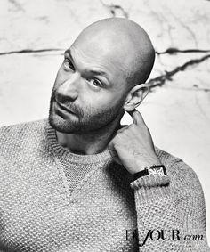 Corey Stoll Poses for DuJour Photo Shoot Talks Ant Man Bald Men With Beards, Bald With Beard, Bald Man, Corey Stoll, Moustache, Bald Look, Stubble Beard, Male Pattern Baldness, Actors Male