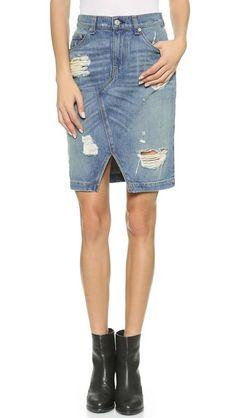 Rag & Bone/JEAN Shredded Denim Skirt