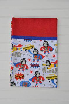 Super Gorilla Standard size pillowcase, Holiday, Christmas Gift, Blue, Yellow, Red, kids pillowcase, child pillowcase, Gifts Under 20.00 by BlackKatStudio on Etsy