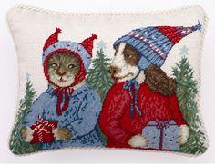 Christmas Good Will To All Needlepoint Pillows - Paris Bottman - Peking Handicraft, would make a darling rug!