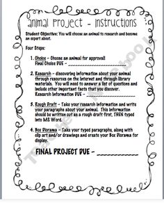 Science Project- Animal Research Project. Costs $1 but you can see the directions and questions to copy... (free).