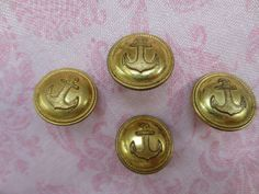 Vintage nautical anchors away gold tone rope edge design metal shank buttons. Lot of 4 buttons