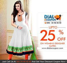 Thinking Which Dress To Buy For Next Party?  If Yes,Then A Designer Suit Is One Of The Best Option. Get A Wide Range Of Designer Suits For Womens.  Call Dial A Coupon Now And Get Upto 25% Off On Designer Ladies Suits      For More Discount Deals Please Visit: Www.Dialacoupon.Com