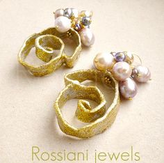 Snail, Sablè Line, earrings - Rossiani jewels handmade jewels, made in Italy mixed pearls silver and aluminium
