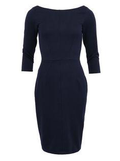 Closet - Tmavě modré pouzdrové šaty s dlouhým rukávem - 1 f0163641743