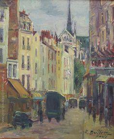 """Zoma Baitler """"Calle de París"""" Óleo sobre tela  60 x 50 cm. Firmado abajo a la derecha  http://www.portondesanpedro.com/ver-producto.php?id=12482"""