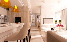 Hol tworzy łącznik między kuchnią z blatem barowym a salonem - Tissu