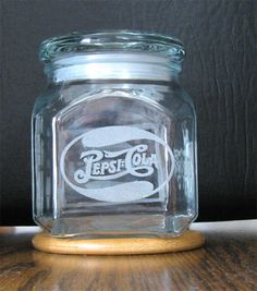 ETCHED SQUARE GLASS CANDY JAR, OLD DOUBLE DOT PEPSI LOGO
