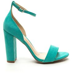 Throwback Vibes Faux Suede Chunky Heels JADE (€20) ❤ liked on Polyvore featuring shoes, pumps, green, wide heel pumps, jade shoes, faux suede pumps, green pumps and green shoes