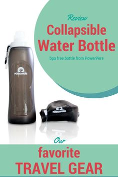 Review about the collapsible (foldable) water bottle from PowerPere / http://www.cityseacountry.com/review-collapsible-water-bottle-from-powerpere/