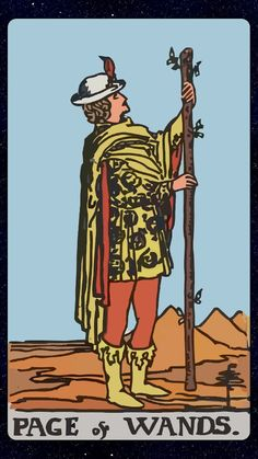 #tarotaffirmation ~ I allow enthusiasm and curiosity to lead me through the day. ~ Page of Wands