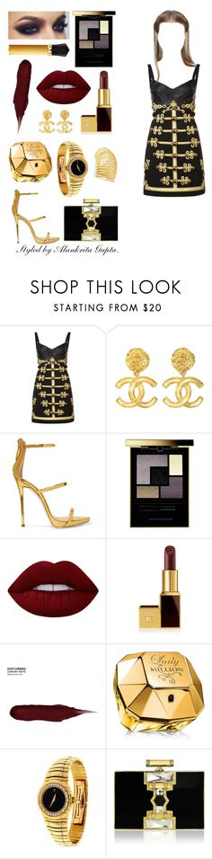"""""""Goddess herself."""" by alankrita-gupta on Polyvore featuring Dolce&Gabbana, Chanel, Giuseppe Zanotti, Yves Saint Laurent, Christian Louboutin, Lime Crime, Tom Ford, Urban Decay, Paco Rabanne and Piaget"""