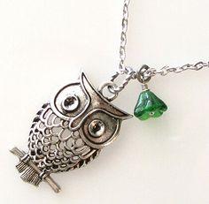 owl necklace owl jewelry animal necklace silver by KriyaDesign