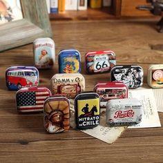 AIBEI-Americana Mini Box1PC Zakka Época Pequeñas Latas De Metal de Estaño caja de almacenamiento Caja de la píldora organizador