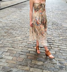 Tennille at Zimmermann Soho wears the Anais Antique Floral Tie Dress, Hybrid Sandal