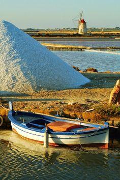 charming salt pans in Marsala, Sicily, Italy
