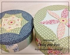patchwork design used to decorate a box. Scrap buster
