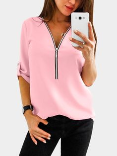 Pink Zip Design V-neck Long Sleeves T-shirts