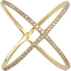 Eva Fehren Champagne Diamond X Ring