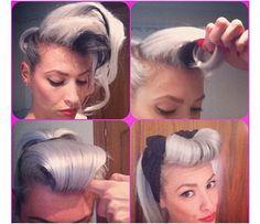 Vintage Hairstyles Tutorial Pin-up/Rockabilly hair tutorial. 50s Hairstyles, Vintage Hairstyles, Wedding Hairstyles, Updo Hairstyle, Quick Hairstyles, Cabelo Pin Up, Rockabilly Hair Tutorials, Look Dark, Pin Up Hair