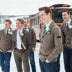 even the groomsmen can be cozy - thick knit cardigans and tweed/wool jackets