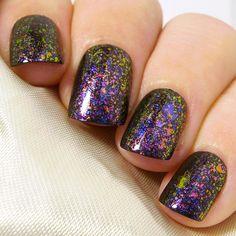 Extra Short Square False Nails | Pink Blue Purple Green Multichrome Fl – Sarah's Sparkles Nails