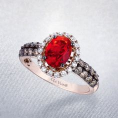 Fire Opal; Tangerine Stone surrounded by 'Vanilla' and 'Chocolate' diamonds on Strawberry Gold band, Le Vian Engagement Ring. <3 forever mine <3