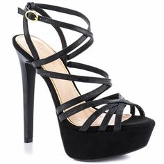 $99.99 Rest assured, you know you'll always look fabulous in the Evans by Jessica Simpson. This strappy sandal is created with an embossed black upper and a winding sexy upper. An adjustable ankle strap, chain detailed 6 inch stiletto pairs with a 1 1/2 inch platform for a confident boost.