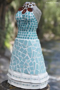International mosaic artist specializing in mosaic dress sculptures and mosaic portraits. Spa Reception, Sculptures For Sale, Robins Egg, Mosaic Tiles, My Favorite Color, Color Combinations, Orient Express, Santa Barbara, Portrait