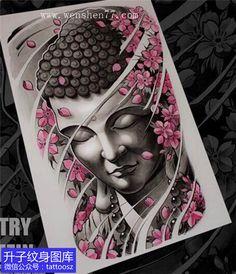 彩色菩萨与樱花纹身手稿图案-精品手稿