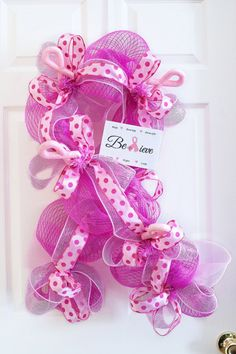 "Deco Mesh Breast Cancer Awareness Wreath with Handmade Sign~Ready to Ship-32"" long"
