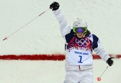 US Hannah Kearney celebrates during the Women's Freestyle Skiing Moguls finals at the Rosa Khutor Extreme Park during the Sochi Winter Olympics on February 8, 2014. AFP PHOTO / JAVIER SORIANO (Photo credit should read JAVIER SORIANO/AFP/Getty Images)