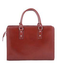 Loving this Burgundy Slender Leather Satchel on #zulily! #zulilyfinds