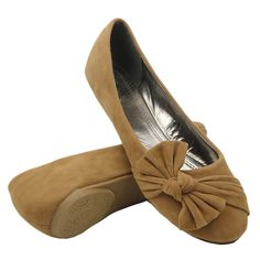 Womens Ballet Flats Side Knotted Bow Easy Slip On Tan