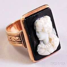 Antique 14kt Rose Gold and Hardstone Cameo Ring Depicting A Maiden, Engraved Shoulders