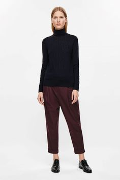 COS image 1 of Dot stitch high-neck jumper in Navy