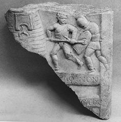 Marble relief fragment with gladiators, 1st-3rd c. A.D., Roman Imperial era.  Metropolitan Museum of Art, New York