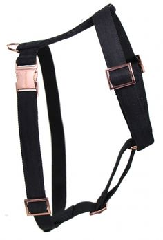 stylish dog harness with copper hardware and black linen - handmade in Germany #dog #harness #copper