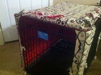 A cute dog crate cover! Did it herself with no instructions! Includes two roll up door that tie with ribbon and piping on all of the edges!