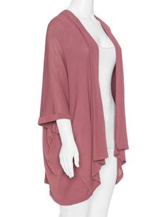 Amber and Vanilla Fine knit open cardigan in Dusky-Pink