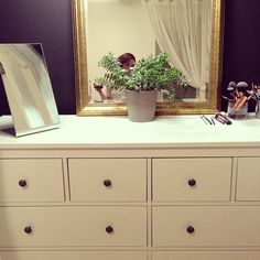 an Ikea dresser as a makeup counter. I'm creating a spa room in my house! #makeup #makeupstorage #storage #beauty