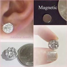 MAGNETIC Silver Faux Druzy, Non Pierced 12mm Stud Trendy No Holes Earrings #171…