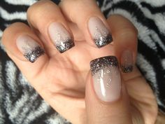 Pretty Charcoal/Dark Grey Glitter Tipped Nails
