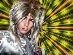 ~ Bedazzle ~ by Donna Keevers Driver (My son, Matt. For his big sister's fancy dress Birthday) Birthday Dresses, Just For Fun, David Bowie, Fancy Dress, Faces, Dreadlocks, Big, Hair Styles, People