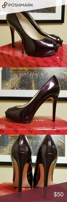 """Stiletto Peep-Toe Platform Pumps Absolutely amazing color! These are a must-have for your shoe collection! The color is like a metallic dark cherry/metallic eggplant. Looks different depending on the lighting. Heel= 4 1/2"""" and Platform= 3/4"""". Style Name: Honora. Never worn except around my house.  I'm between a 6.5 & 7 in pumps & neither works. Comes w/box. My loss is your gain! Guess Shoes Heels"""