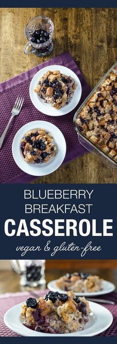 Blueberry Breakfast Casserole - vegan and gluten-free recipe - features a mildly sweet taste with a pudding-like consistency under a crispy toasted top | VeggiePrimer.com