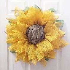 Yellow Sunflower Wreath sunflower Burlap by JuliesWreathBoutique
