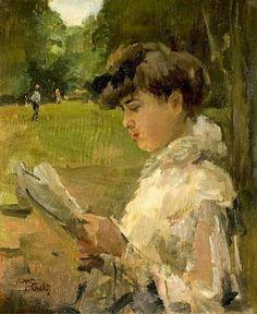 """Isaac Israëls (Dutch, 1865 - 1934) """"Lezend meisje"""", 1906"""