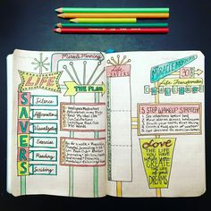 Miracle Morning Bullet Journal Spread - So colorful and cute! - Courtesy of Lori in Bullet Journal Junkies FB Group